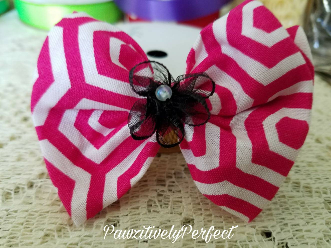 Pink And White Top Knot Hair Bow With Black Flower And Alligator Clip