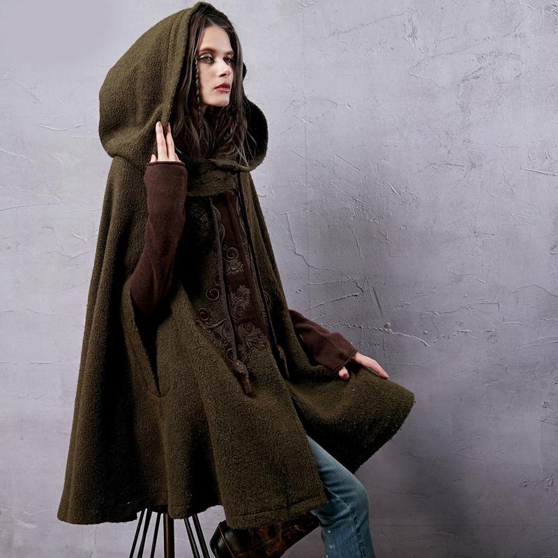 Womens Winter New Vintage Warm Woolen Hoodie Cloak Coat Embroidered Drop-shoulder Sleeve Wool Cape Outerwear