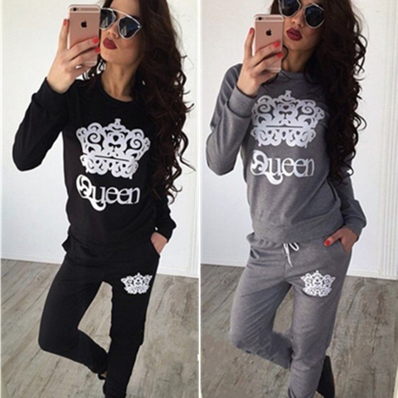 Fashion Womens Two-pices Casual Sport Tops Sweatshirt Track Pants Sweat Suits Tracksuit