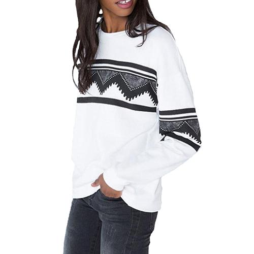 Womens Fashion Geometric Print Long Sleeve Sweatshirt