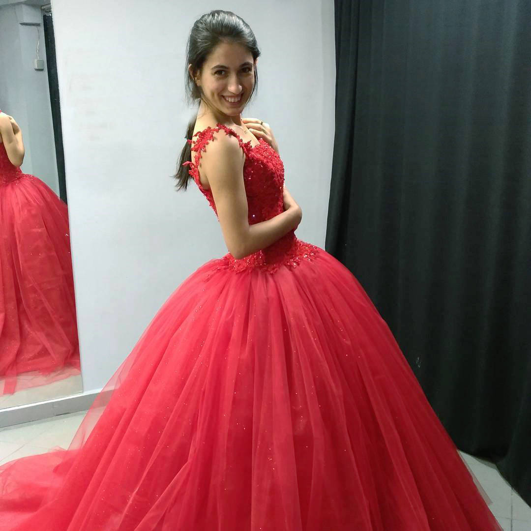 Tulle Ball Gown Prom DressAppliques Lace Formal Evening Dress