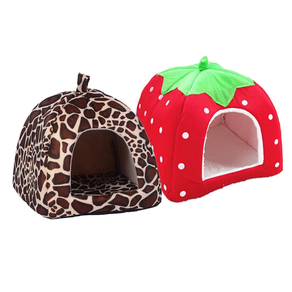 New Dog Bed Pet Dog House Foldable Soft Warm Sponge Leopard Print Strawberry Cave Cute Dog Beds Kennel Nest Fleece Cat Tent Shpc0001