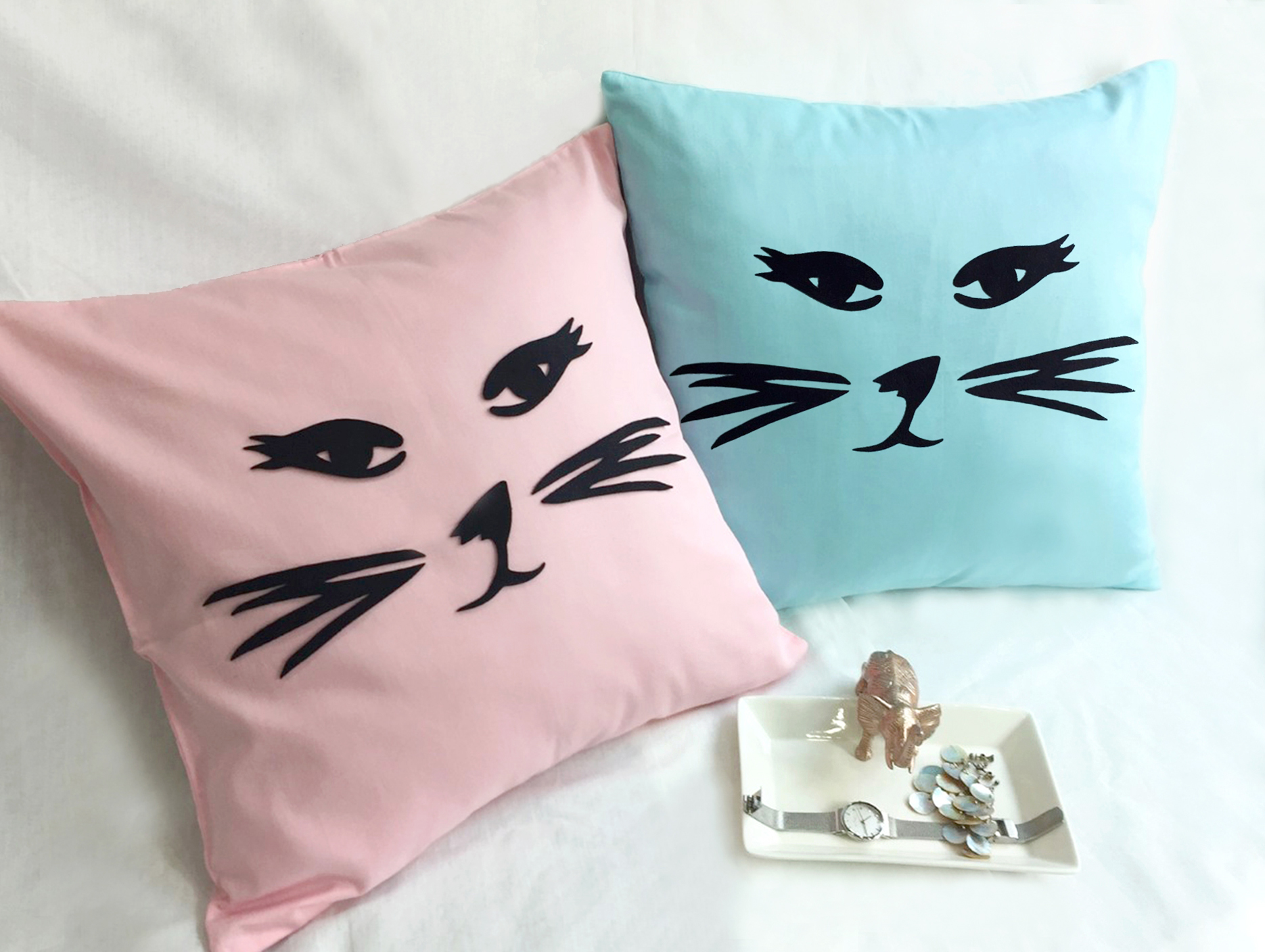 Pick Your Color. Cat Face Pink Decorative Pillow Cover. Light Blue Cat 16inch Cushion Cover