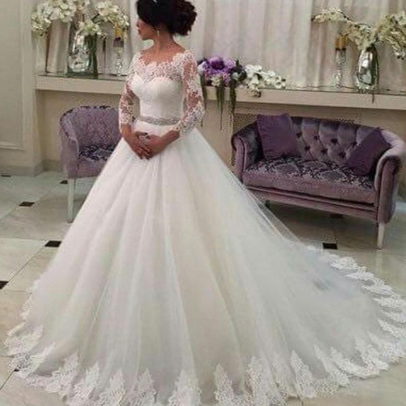 Customized Wedding Dresses Three Quarter Lace Vestido De Noiva Elegant Casamento Robe De Mariage Beaded Sash