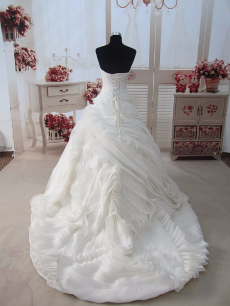 Real Photos Princess Wedding Dress 2017 Tube Cascading Ruffle Bride Robe De Mariage Vestidos De Noivas Vintage