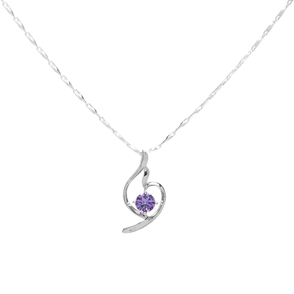 "Women Charm 925 Sterling Silver Purple Cz Cubic Zirconia Pendant Necklace18"" 2017-3#"