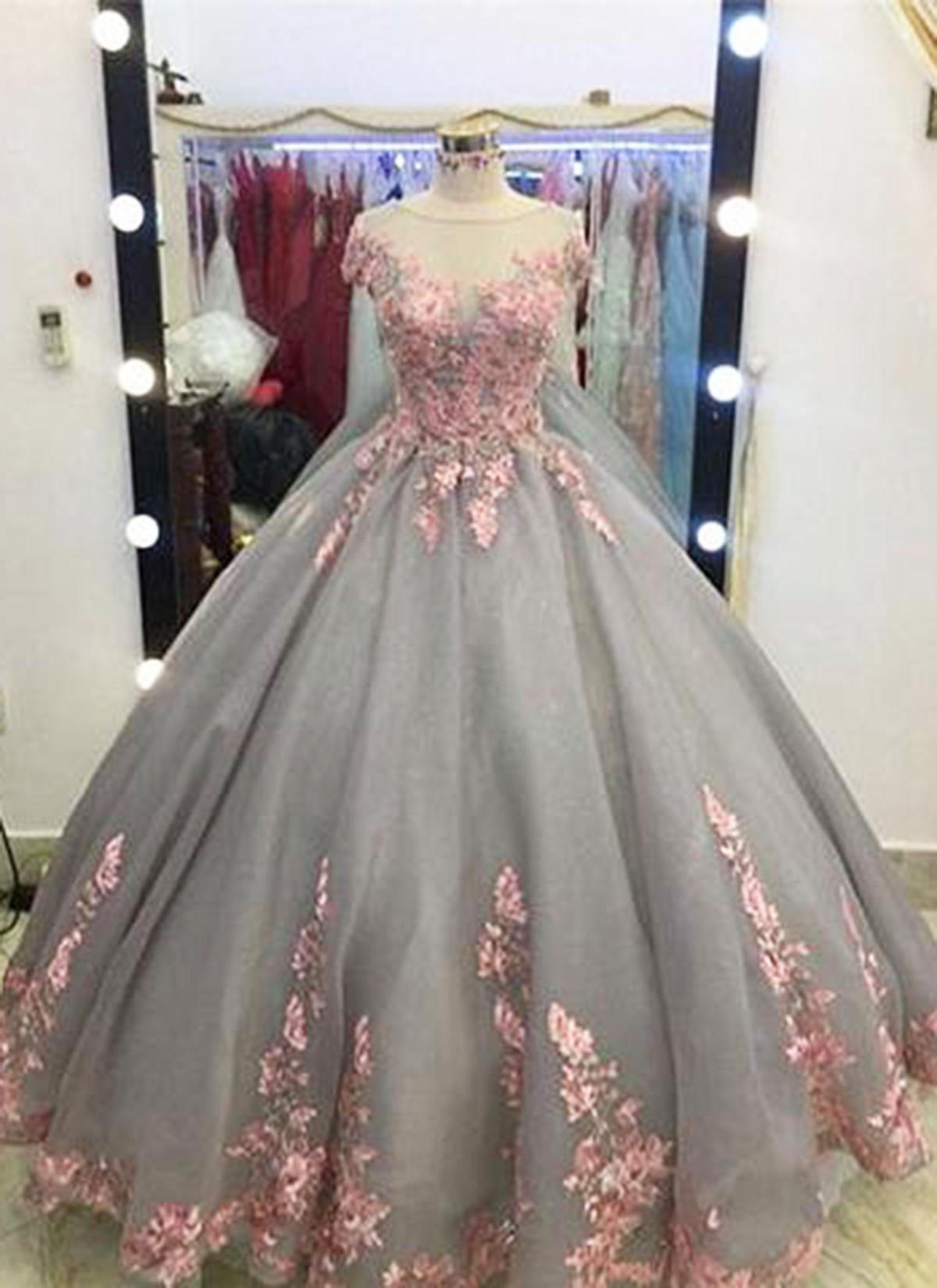 Unique Grey Long Ball Gown-appliqued Cap Sleeves Prom Dress-big Wedding Dresses-grey Formal Evening Dress-gray Quinceanera Dresses