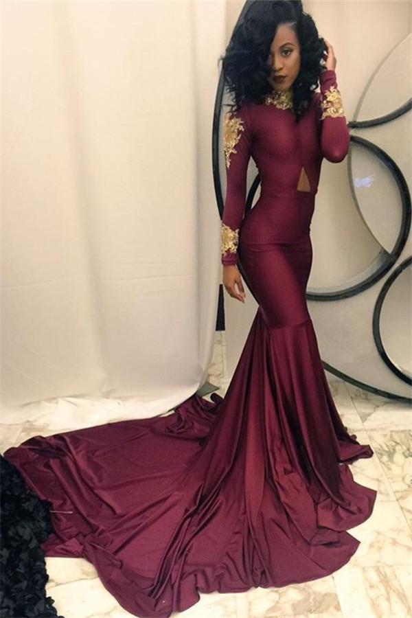 b410667bb510 Long prom dress, mermaid prom dress, long sleeves prom dress ...