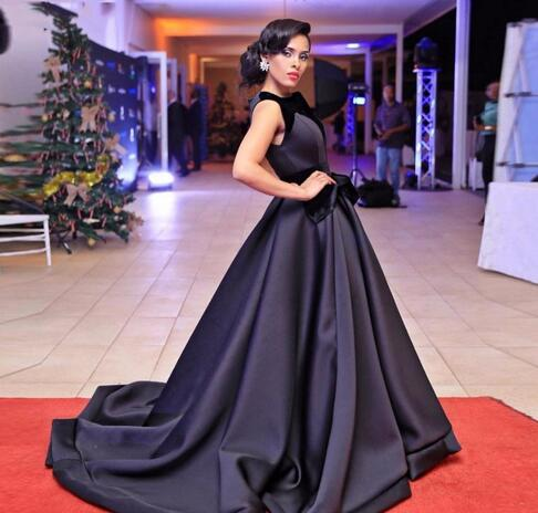 Cheap Prom Dresses -black Ball Gown Evening Dresses Bateau Long Celebrity Dresses Custom Made Sweep Length Formal Evening Gowns