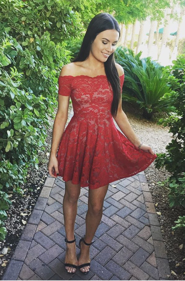 Charming Prom DressSexy Lace Evening DressCute Prom GownMini Party Dress