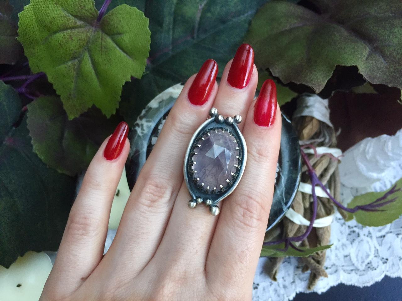 Rose Quartz Sterling Silver Bone Ring  Adjustable RingRose QuartzRose Quartz RingSpooky JewelryCreepy And CuteBone JewelryHalloween