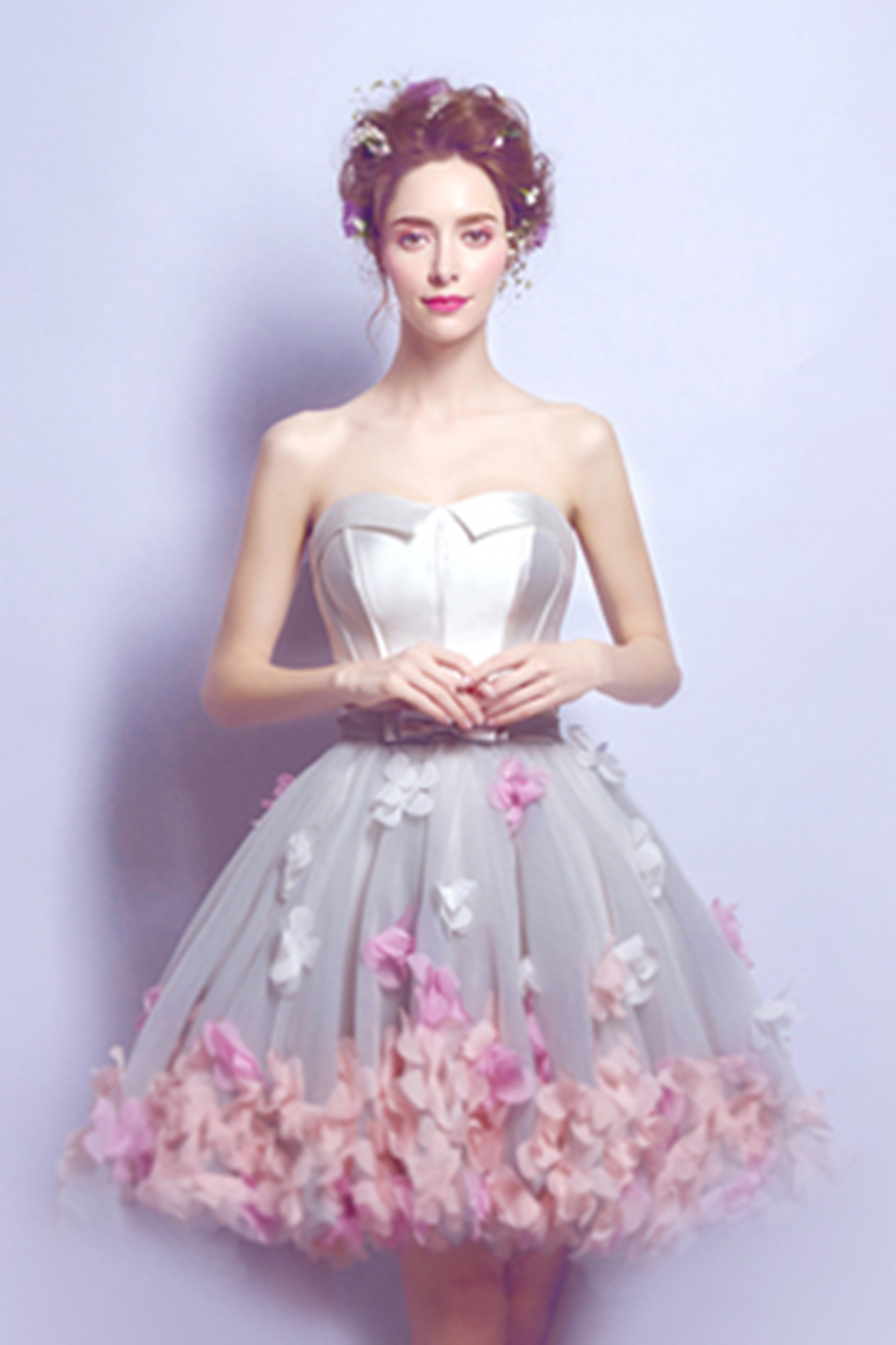 Stylish Short Strapless 3d Flower Party Dress Mini Sweet
