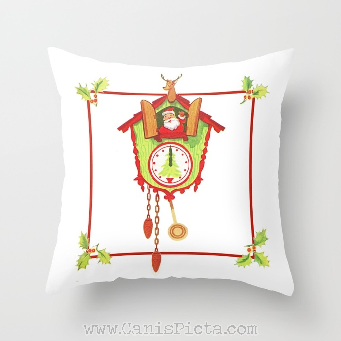 Cuckoo For Claus Christmas Throw Pillow Cover Decorative Holiday Vintage Retro Inspired Santa Clock Red Mistletoe Holly Berries Cushion White Reindeer