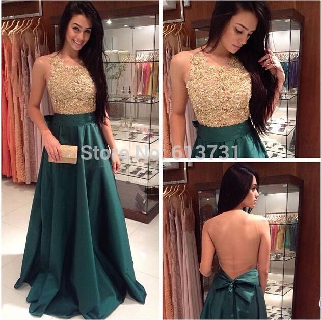 2017 New Fashion Prom DressHigh Neck Prom DressA Line Prom Dress Dark Green Evening Dresses -taffeta Prom GownLong Prom Dress-15040901