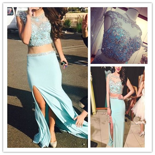 2017 Stylish Fashion Blue Scoop Sheath Two Piece Slipt Long Prom DressesSexy Crystal Long Chiffon Two Piece Prom Dress-two Piece Prom Dresses