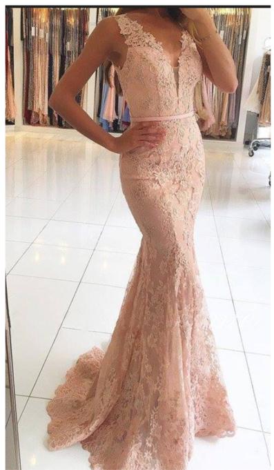 Charming Prom DressLace Evening DressSexy Sleeveless Mermaid Prom DressFormal Evening Gown F2171