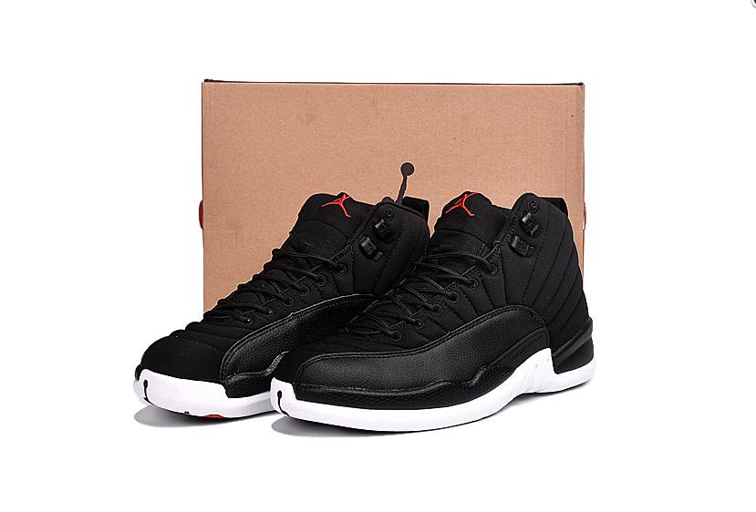 New Air Jordan 12 Black Nylon Black White Gym Red