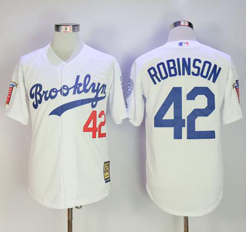 Mitchell And Ness Dodgers #42 Jackie Robinson Stitched White Throwback Mlb Jersey
