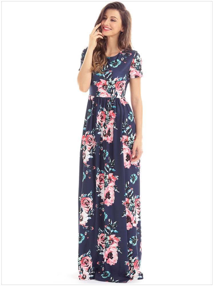 Pocket Design Short Sleeve Mint Floral Maxi Dress Long Sleeve Floor Length Elegant Summer Style Sundress Robe Syd109