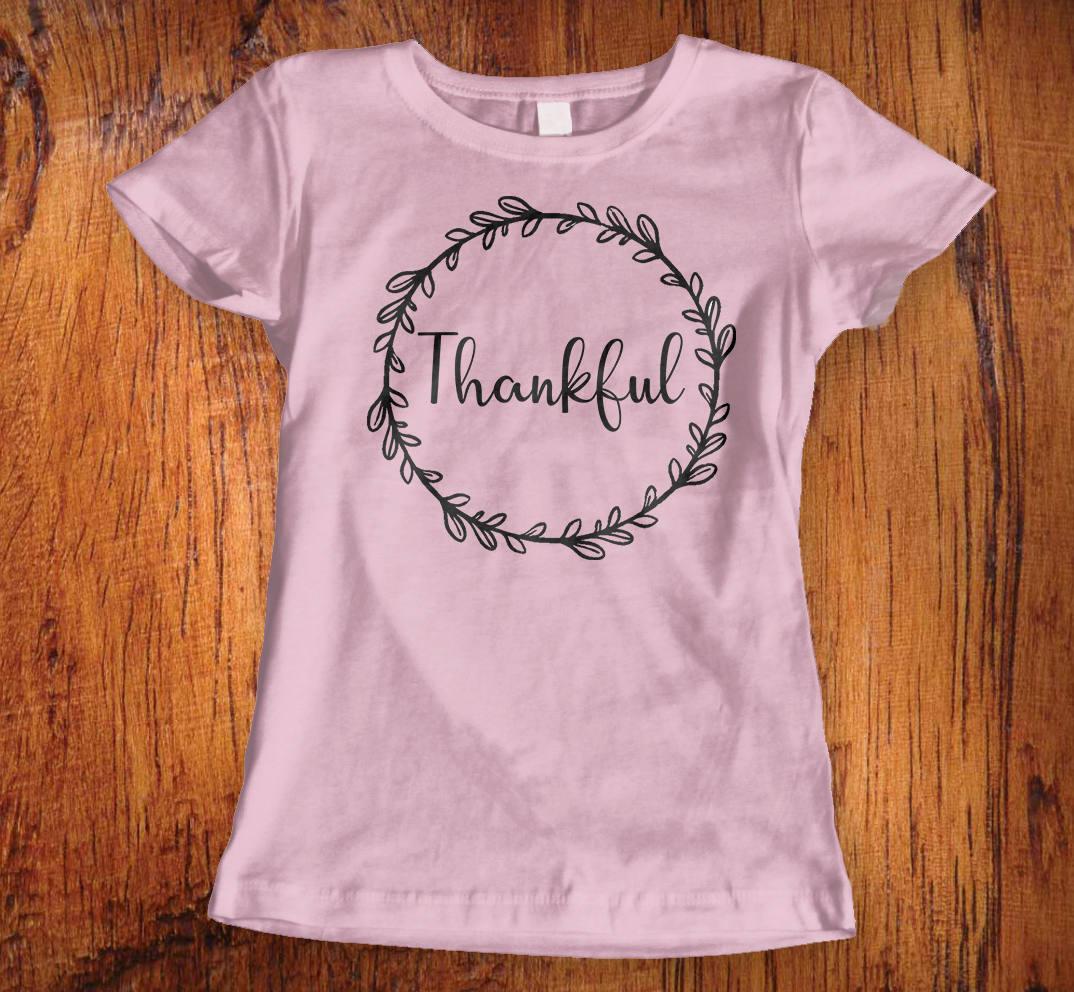 Womens Tshirt Thankful Shirt Thanksgiving Shirt Thankful Shirt With Wreath Womens Thankful Tee Gift For Her Ladies Christian Shirt