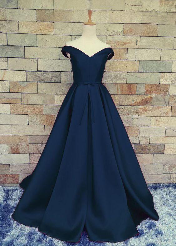Sexy Off Shoulder Navy Blue Prom Dresslace Up Back Prom Dresses