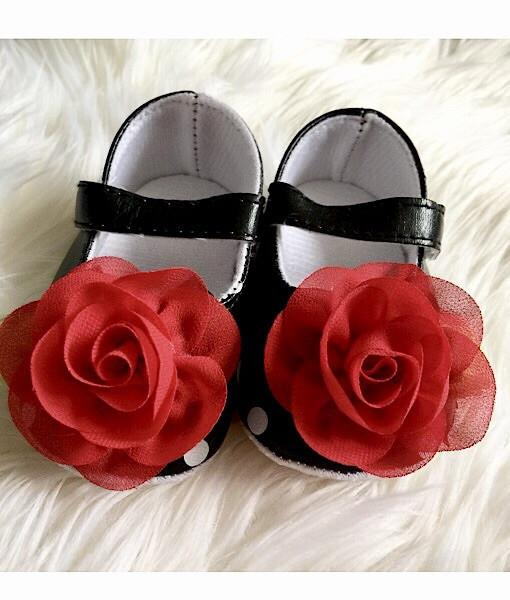 Baby Girl Shoes Black With White Polka Dot Shoes-red Rosette Baby Shoes Mary Janes- Polka Dots Ballet Baby Shoes- Crib Shoes