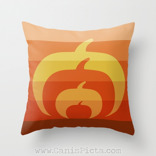 Modern Ombre Halloween Pumpkin Silhouette 16x16 Throw Pillow Cover Cushion Decorative Orange Harvest Couch Art Home Unique Contemporary Burnt Umber