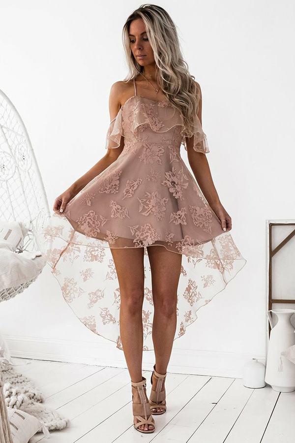 9f66a0bb6d A line 20off the shoulder 20high 20low 20blush 20sleeveless 20lace  20homecoming 20dress original