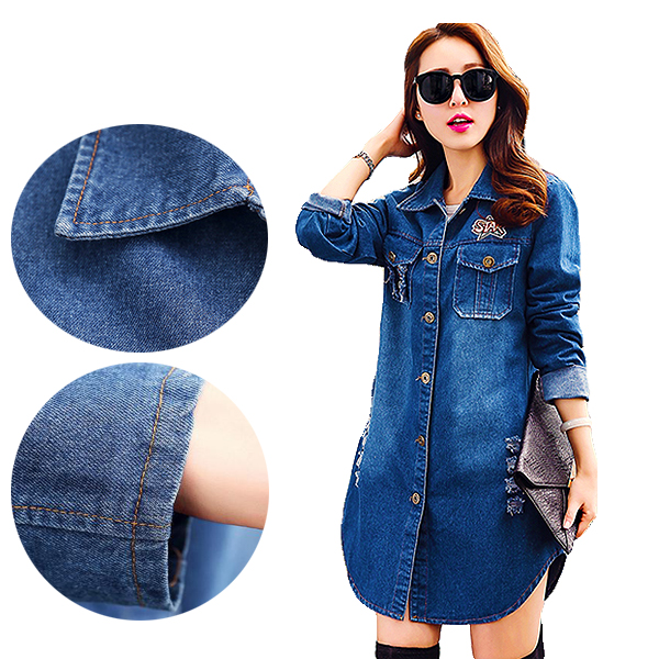 Latest Spring Womens Fashion Basic Coats Long Denim Jacket Slim Women American Badge Pattern And Letter Patch Ripped Jean Jacke
