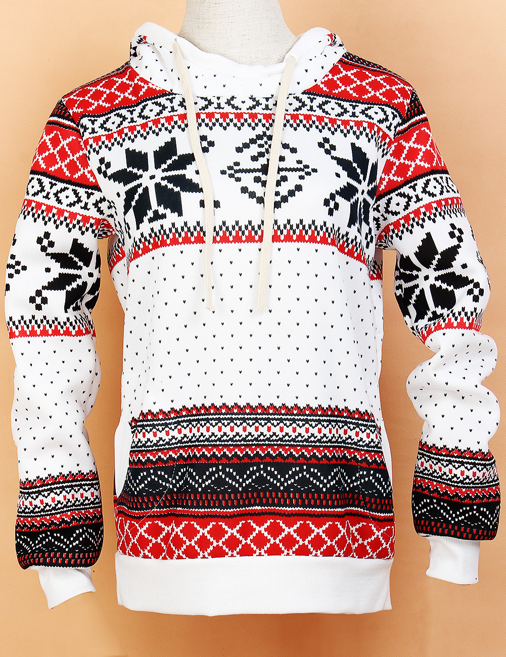 1pc Fashion Womens Snowflake Hooded Sweater Hoody Christmas Sportwear Harajuku Snowflake Printed Sweatshirt Pullover