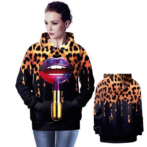 Latest Spring Fashion Tops Womens Hoodies Pullover Women Long Sleeve Coat Leopard Lipstick Tie Dye 3d Print Graphic Sweatshirts