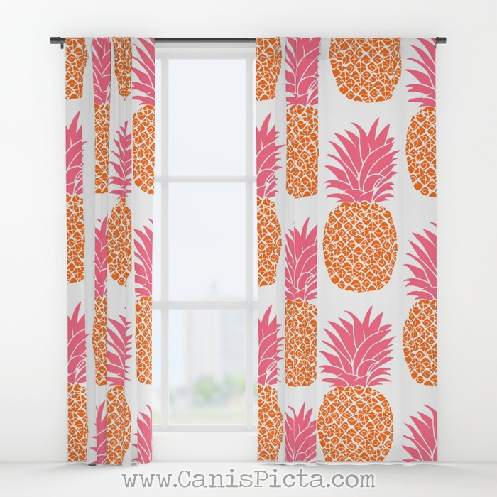 Modern Pineapples Window Curtains Treatment Panel Decorative Decor Home House Anansa Hot Pink Orange Neon White Pattern Bright Trendy Gift Fruit Cute