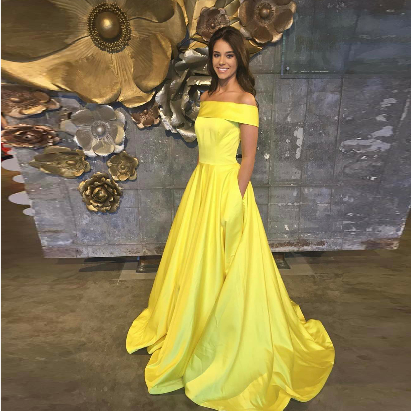 yellow off the shoulder a line princess prom dressevening