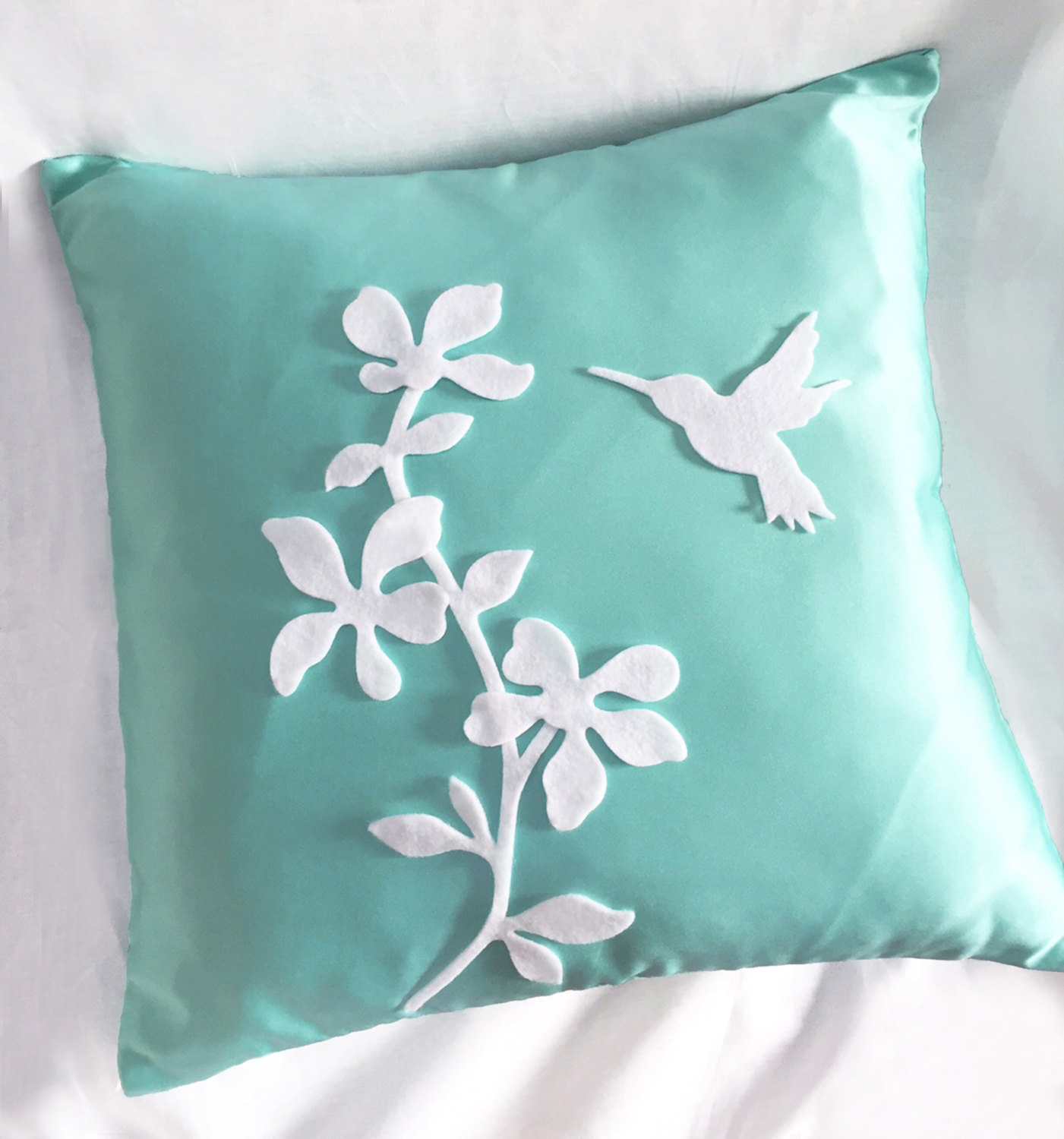 Spring Blossom Pretty Florals Mint And White Decorative Pillow Cover Cushion Cover