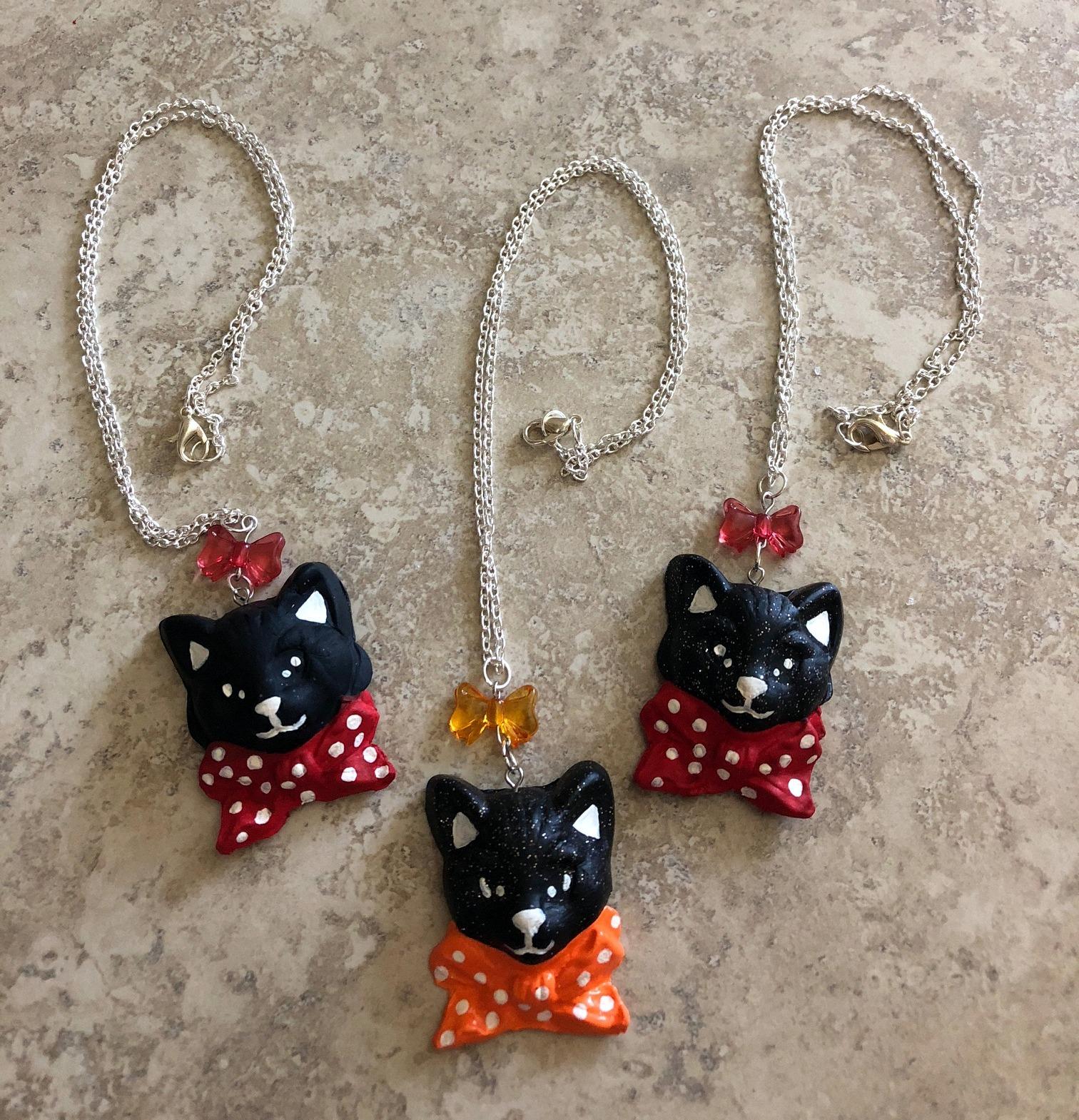 Pretty Kitty Polka Dot Cat Clay Necklace