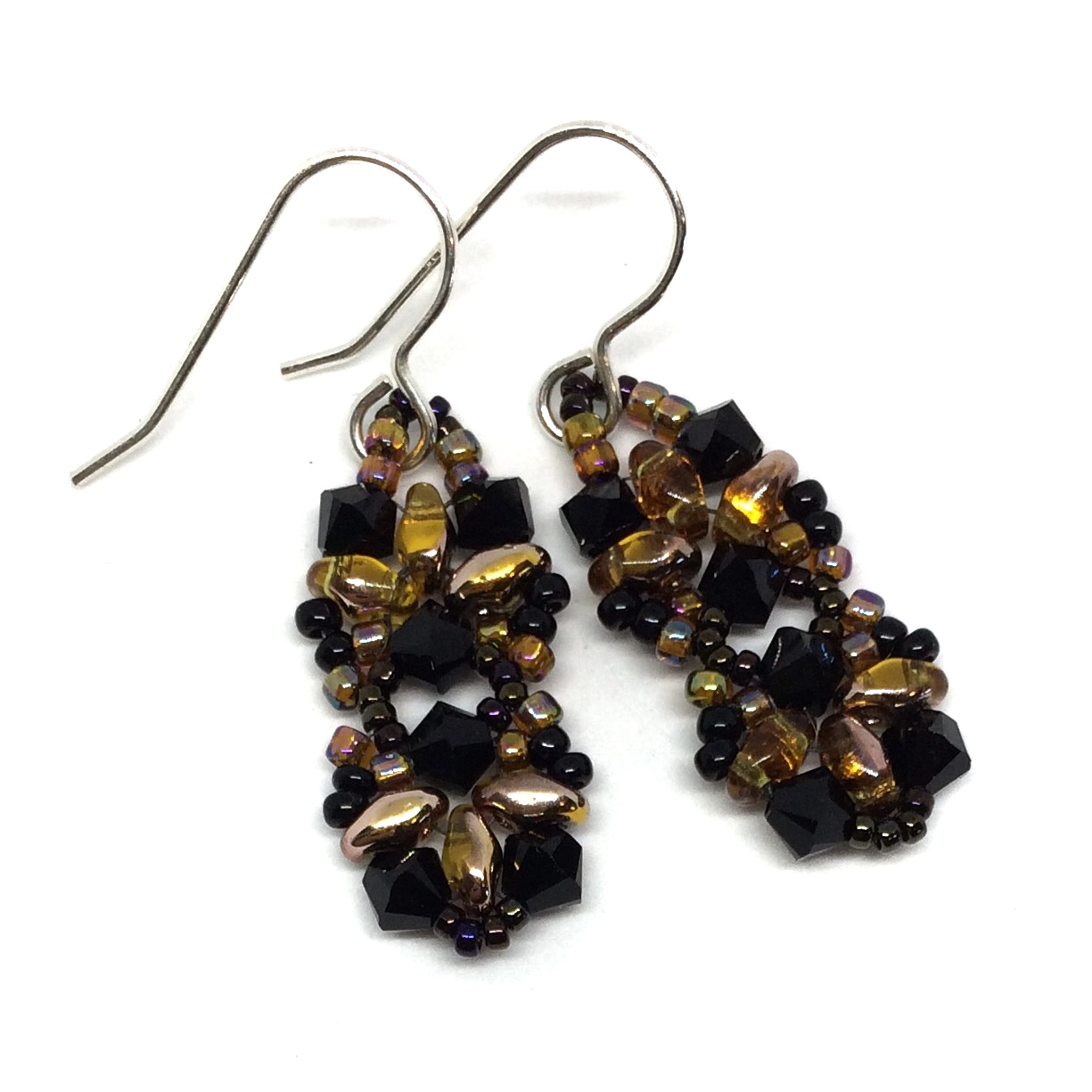 Topaz Color And Black Crystal Earrings On Sterling Silver Ear Hooks