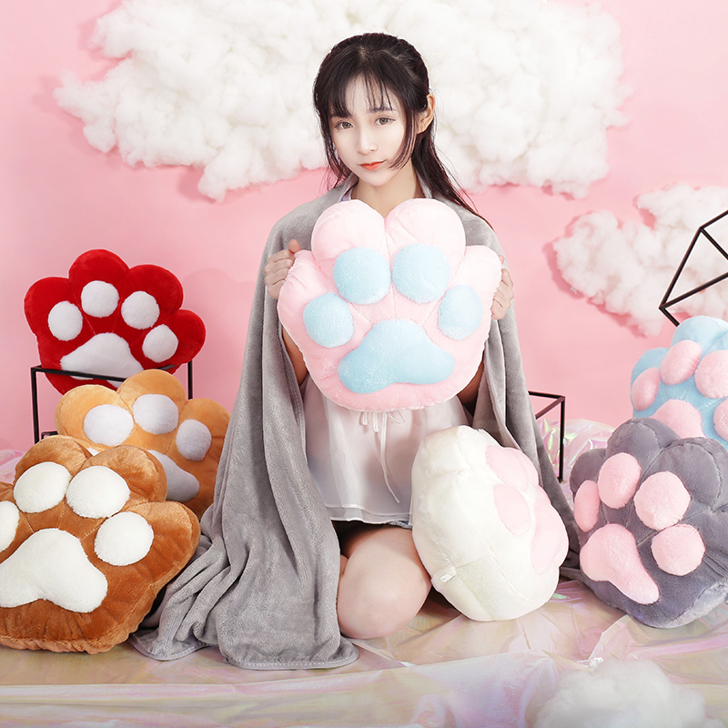 Cute Big Paw Pillow Blanket In Home Office Back Cushion Gg667