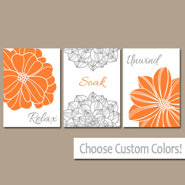 Bathroom Decor - Orange Gray BATHROOM WALL Art - CANVAS or Prints ...