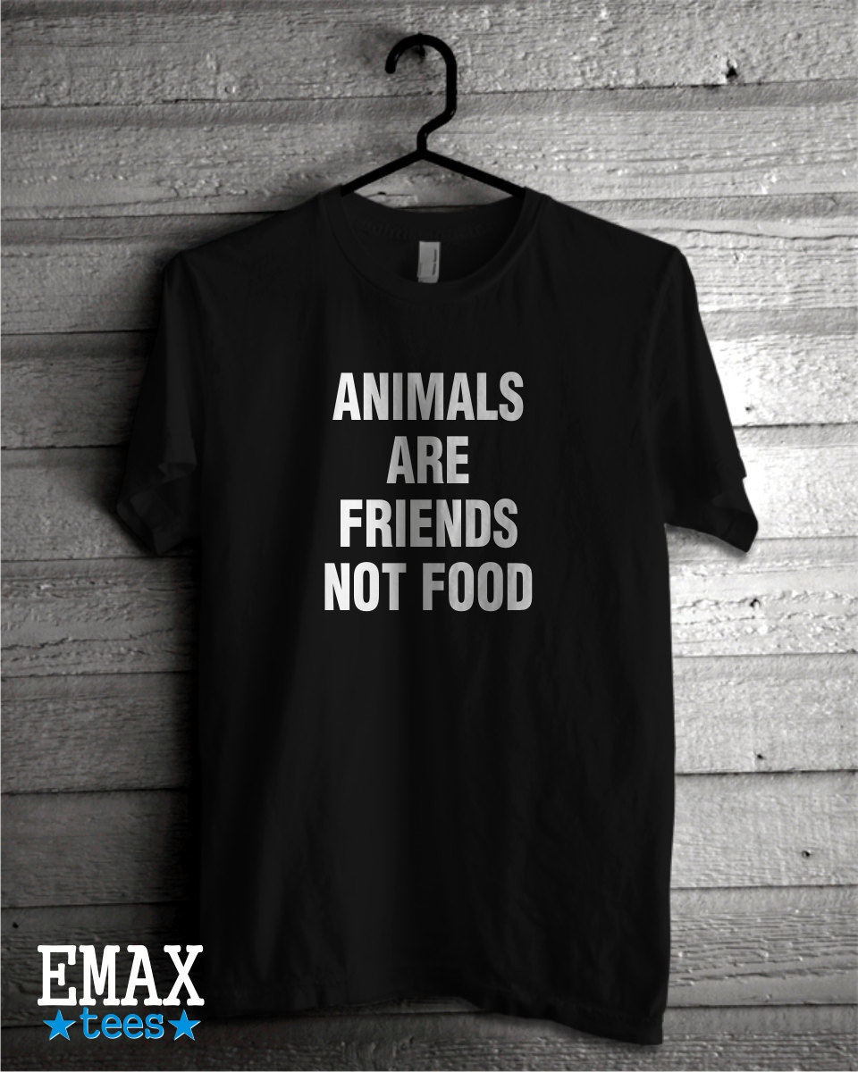 Image of Animals are Friends not Food T Shirt, 100% Cotton Tee, Vegan T-shirt Men Woman Clothing, Unisex Tshirt