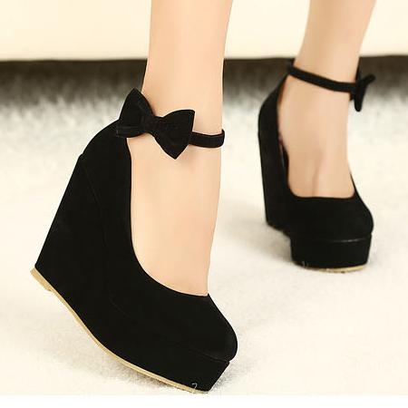 Cute Black Ankle Strap Wedge Pumps