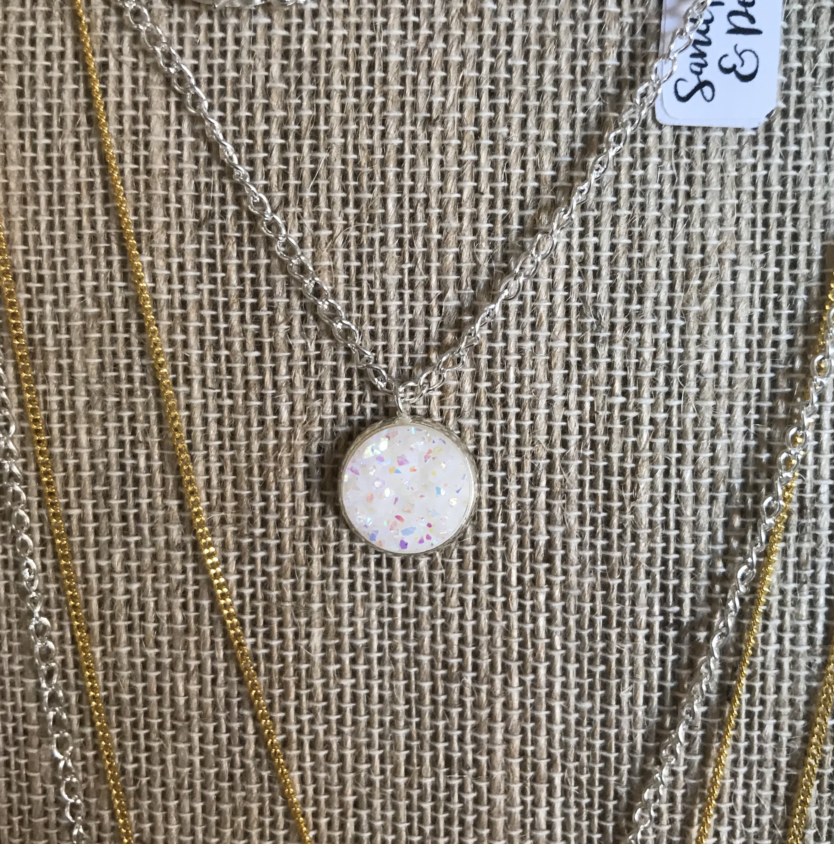 White Opal Druzy Necklace
