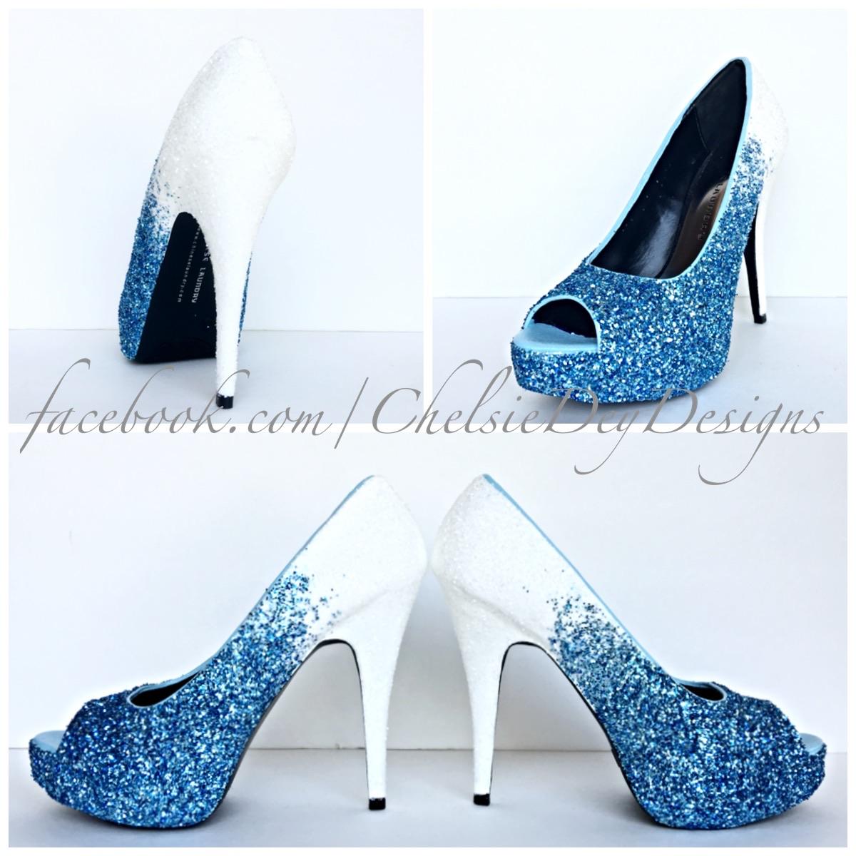 Glitter High Heels - Ocean Blue White Ombre - Peep Toe Pumps - Blue Wedding Shoes - Open Toe Platform Pumps