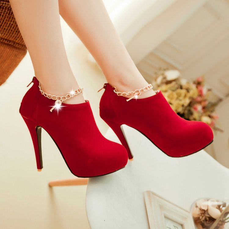 Sexy Charmed Red High Heels Ankle Boots