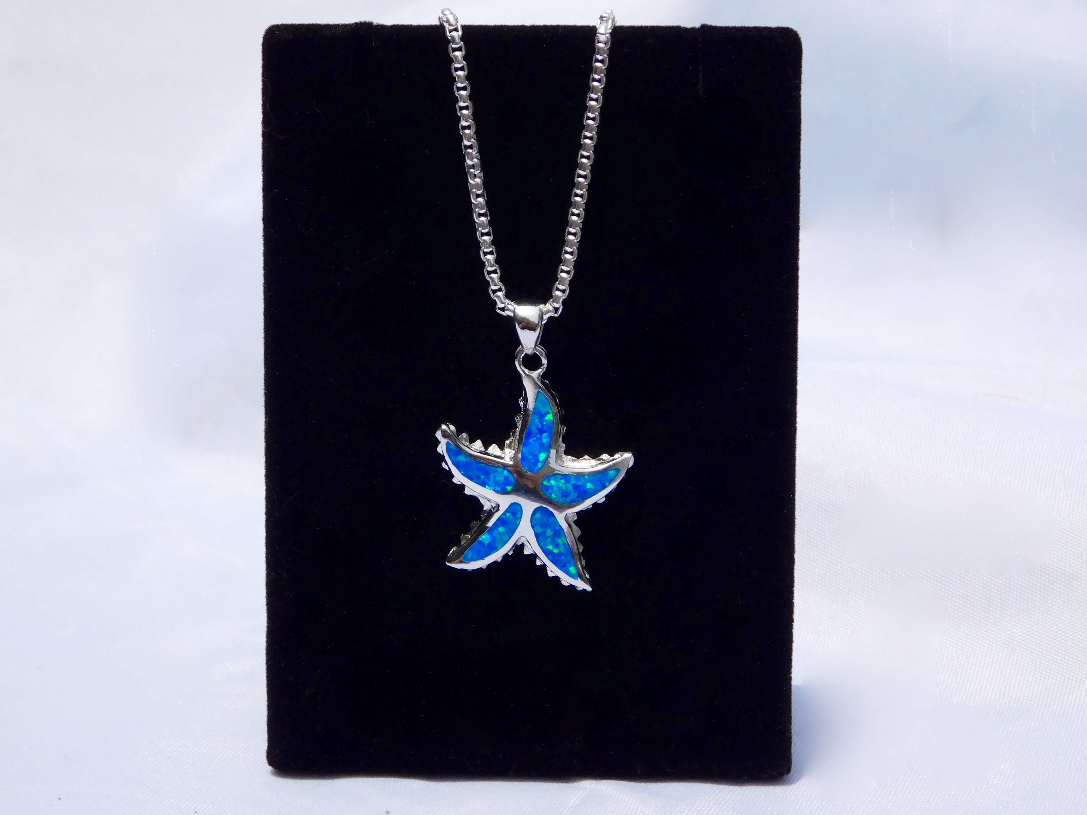 Blue Fire Opal And Sterling Silver Starfish Jewelry Set