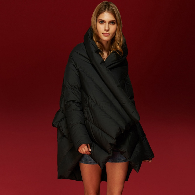 Down Jacket Womens High-end Fashion Design Feather Cloak