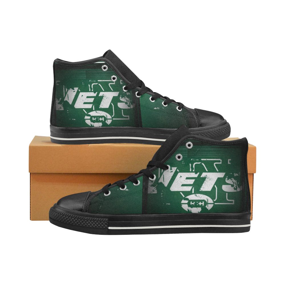 Ny Jets New York Jets Mens Classic High Top Black Canvas Shoes Canvas Sneakers Size 6-14 Unisex Adults (kidsToo)