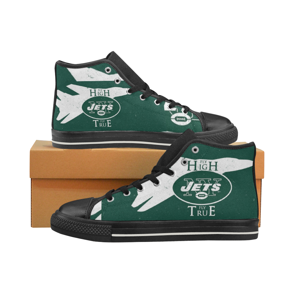 Ny Jets #3 New York Jets Mens Classic High Top Black Canvas Shoes Canvas Sneakers Size 6-14 Unisex Adults (kidsToo)