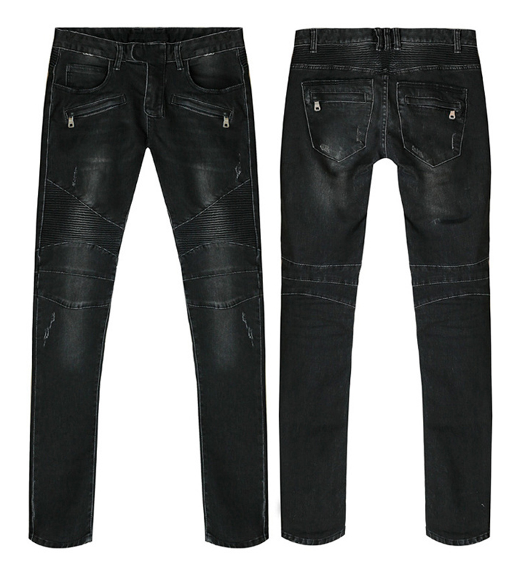 Fashion Biker Jeans High Quality Stretch Autumn And Winter Hot New Mens Slim Men Trousers Casual Black Knee Folds Feet Pants