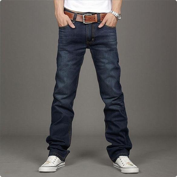 Korean Mens Slim Fit Jeans Trousers Straight Leg Pants