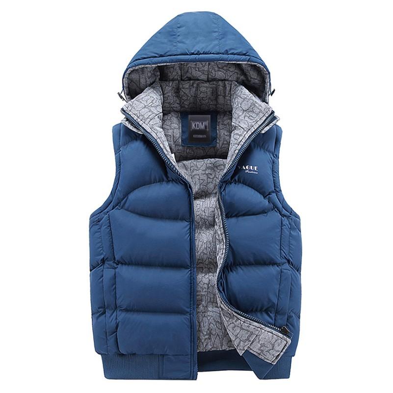 Mens Jacket Sleeveless Vests Winter New Fashion Casual Coats Brand Hooded Cotton-padded Mens Vest Men Thickening Waistcoat